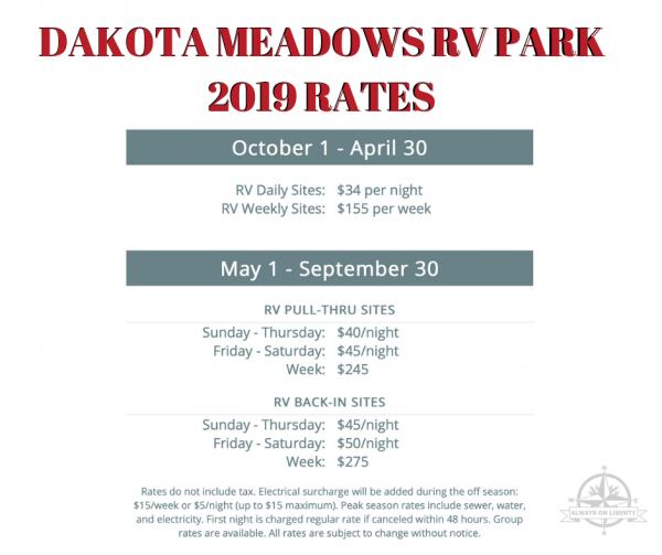 Dakota Meadows RV Park Rates
