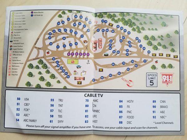 Mountaindale RV Resort Site Map