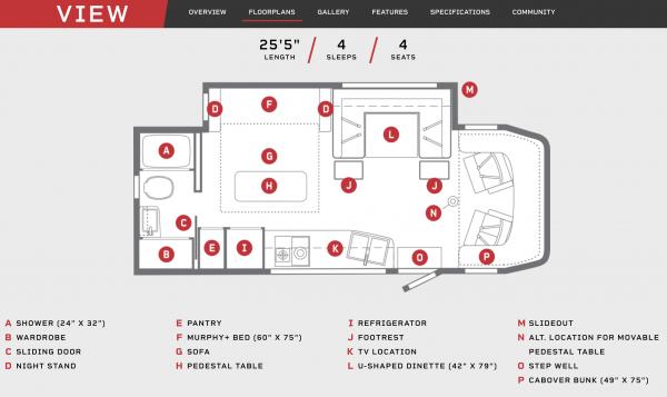 Winnebago View 24D Floor Plan