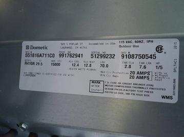 RV Air Conditioner Label